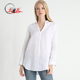 Women Long Sleeve White Linen Tunic Shirt