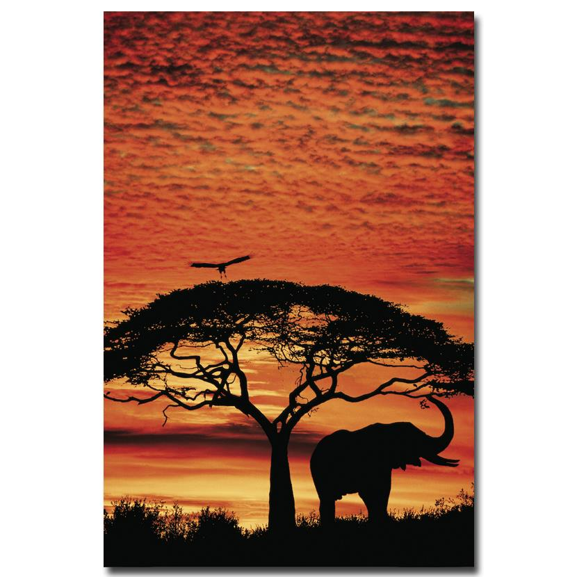Sunset - <font><b>African</b></font> Elephants Nature Art Silk Poster Print 12x18 20x30 24x36 inches Landscape Pictures For <font><b>Home</b></font> Room <font><b>Decor</b></font> 001