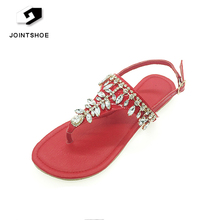 Bling Jeweled Bridal Red Flat Fancy Sandals Women Summer Shoes