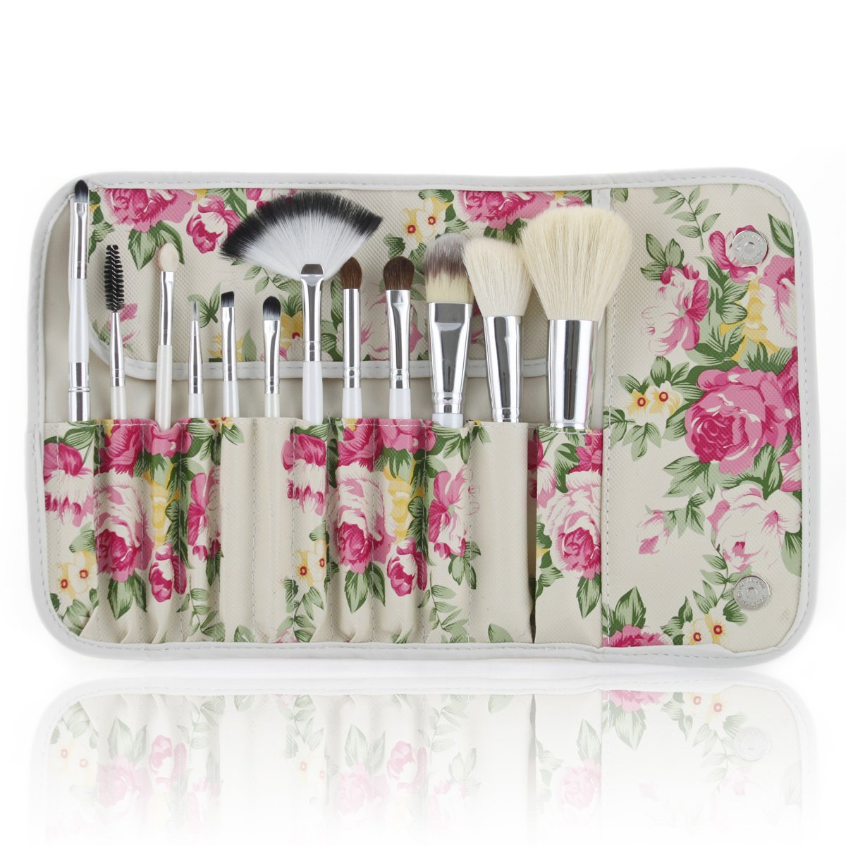 Frola Cosmetics Pro 12 Pcs Goat Hair Makeup Brush Brushes Set Kits with Rose Pattern Case Bag