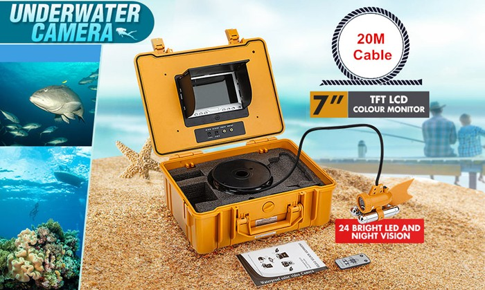 "HD Waterproof 20M Cable CCTV Underwater Fishing Camera DVR Record Video Fish Finder 7"" LCD Monitor"