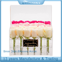 2017 Newest Clear Plastic Fresh Flower Waterproof Box Wholesale /Square Acrylic Flower Display Case