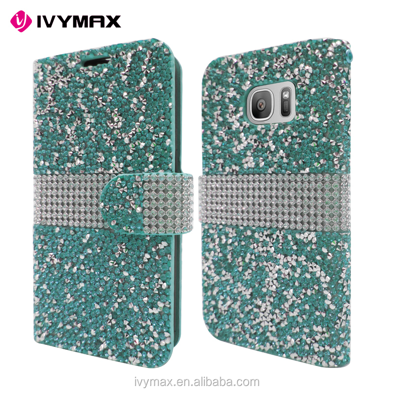 IVYMAX High Quality Luxury Rock Crystal Rhinestone PU Leather Diamond Wallet Case Flip Cover For Samsung Galaxy S7/G930