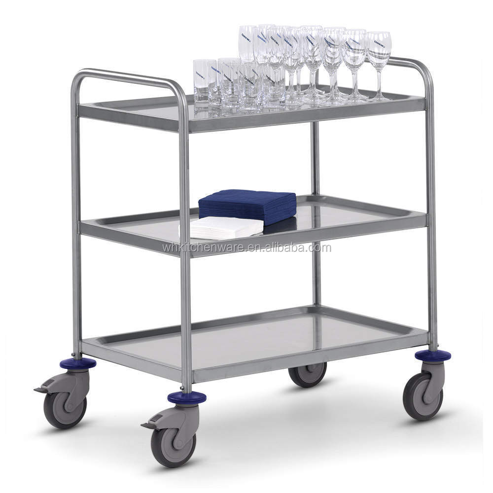 stainless steel kitchen dining trolley serving utility cart