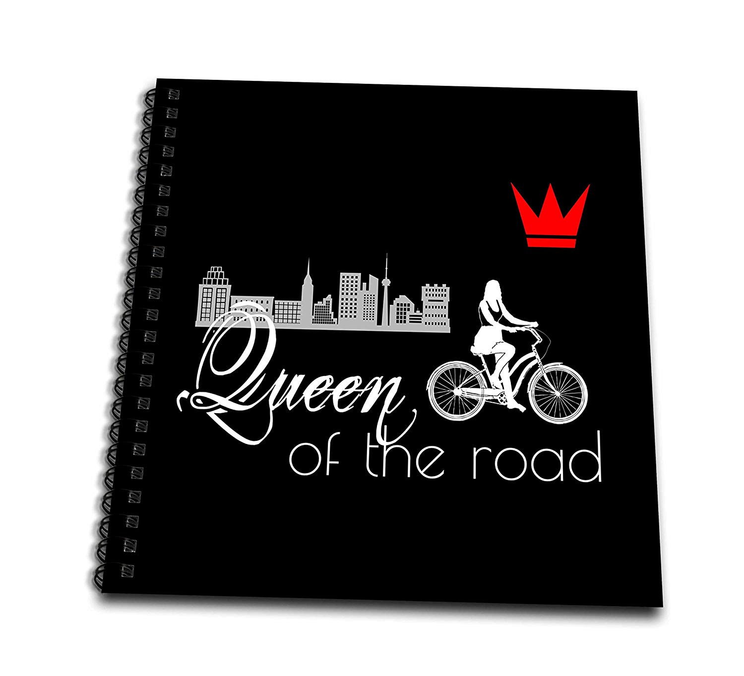 3dRose Alexis Design - Sport Bicycle - Queen of The Road. Female Bicycle Rider, red Crown, City on Black - Memory Book 12 x 12 inch (db_281275_2)