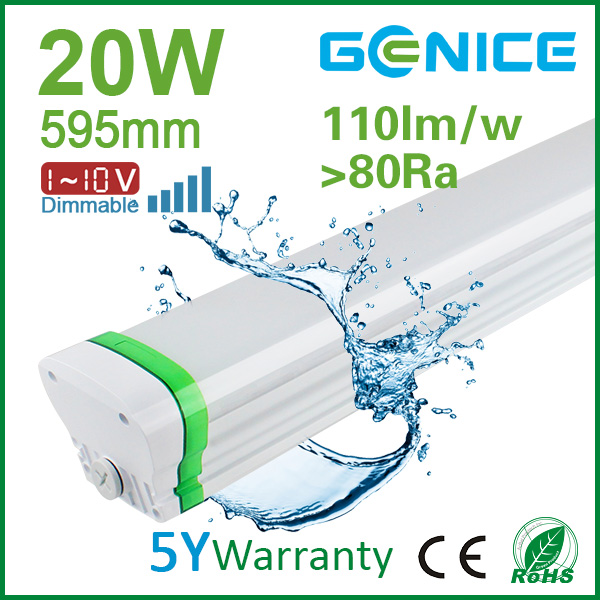 IP65 LED triproof lamp T8 600mm 20w dimmable led batten/led tri-proof tube light