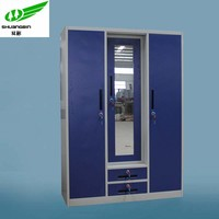 Cold-roll Steel office furniture three door bedroom almirah/used metal locker cabinet for sale/indian clothing wholesale
