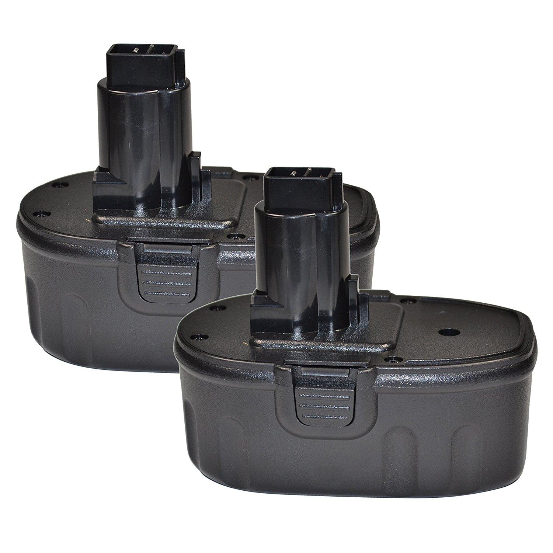 HQRP 2-Pack 18V Battery for DEWALT DC020 DC212 DC212B DC212KA DC212KB DC212KZ DC212N DC213KB DC410 DC410KA + HQRP Coaster
