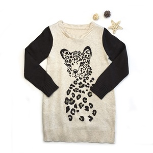 High quality leopard graphic child girl dress sweater