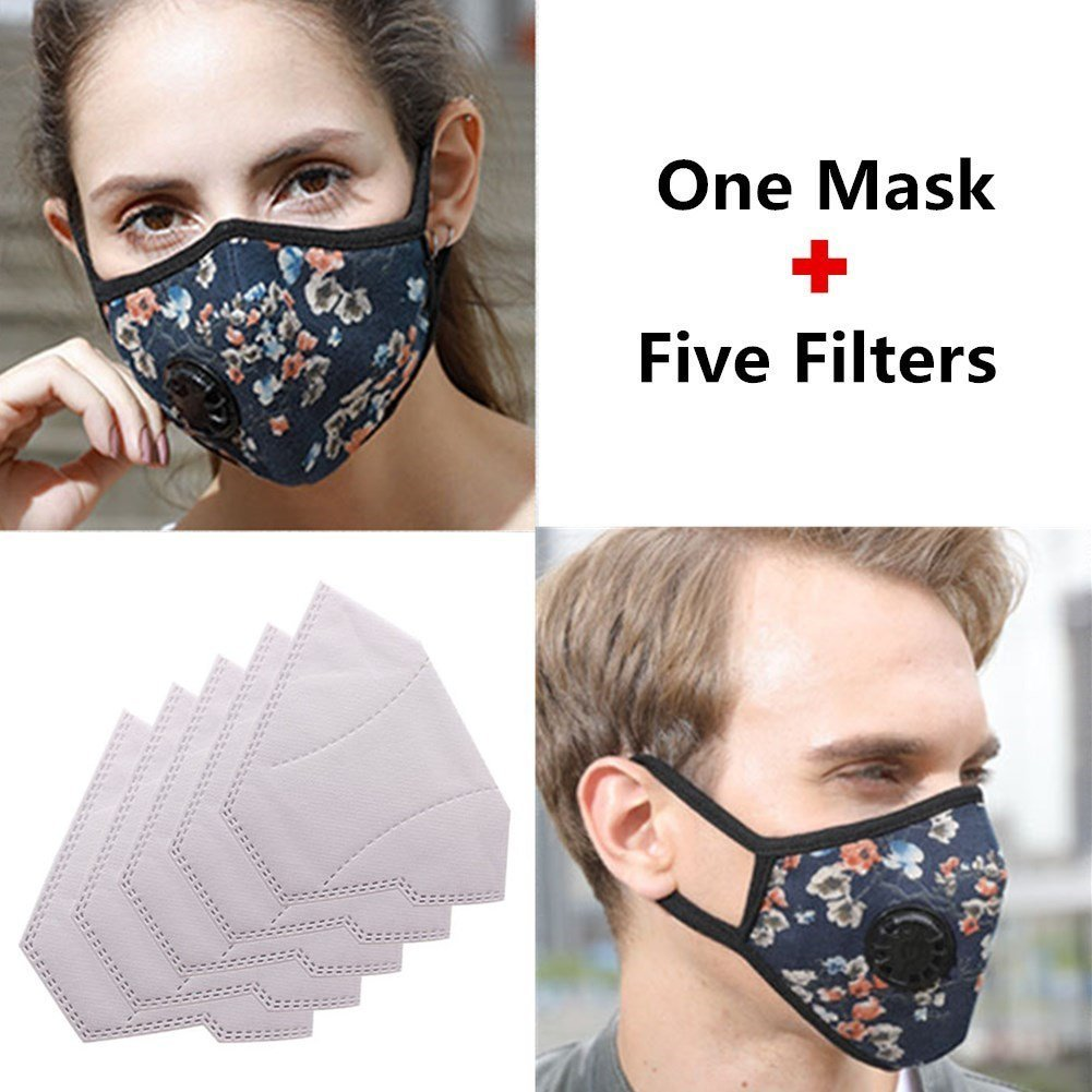 22502ea6cab Get Quotations · ZWZCYZ Mask Anti Pollution Mask Washable Cotton Mouth Masks  with Valve Replaceable Filter Masks Dust Air