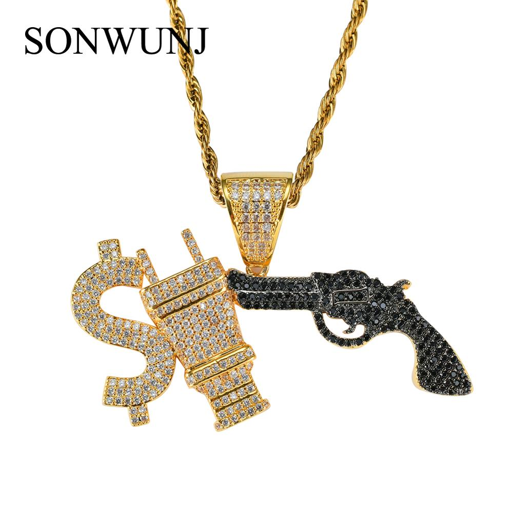 Bling bling Hip Hop $ PLUG GUN Pendant Copper Micro pave with CZ stones Necklace Jewelry for men and women CN005