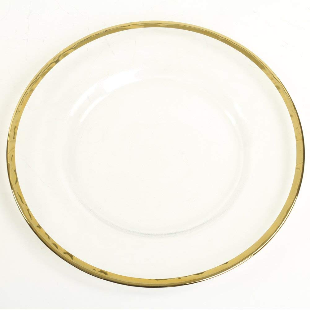 fascinating Cheap Glass Plates In Bulk Part - 7: Get Quotations · Koyal Wholesale Bulk Clear Glass Gold Rim Charger Plates,  Set of 4, Glass Charger