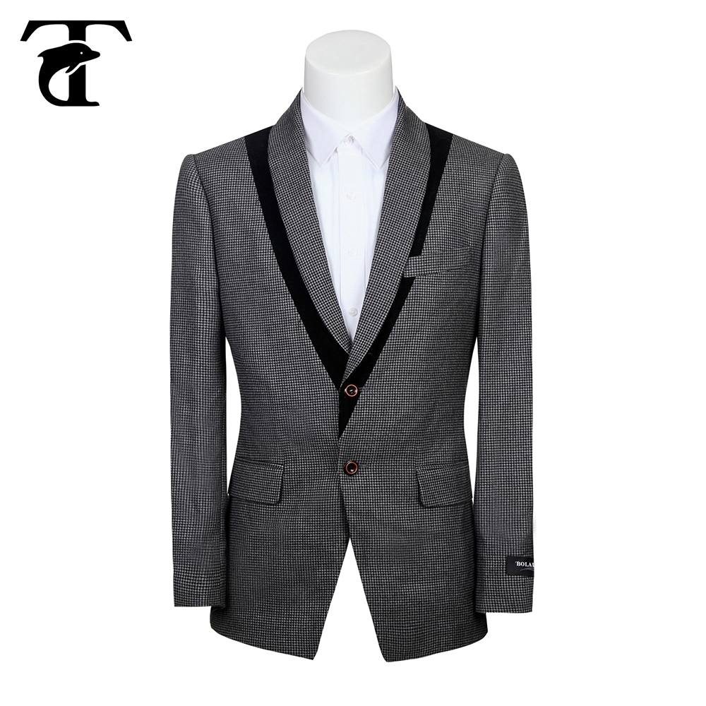 Slim fit black 3-pc business man suit with hand embroidery designs