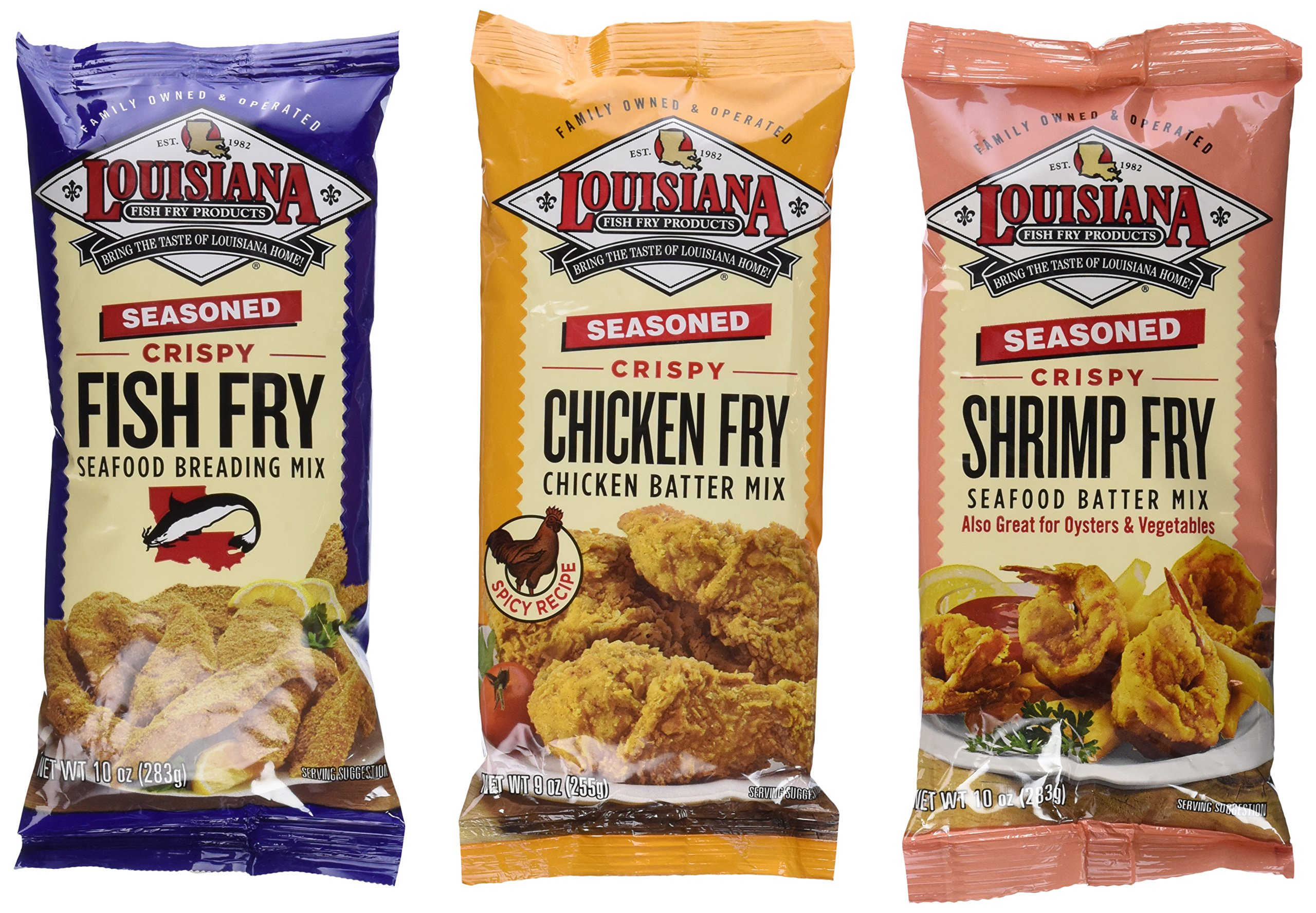 Louisiana Fish Fry Products Seasoned Fry Mix 3 Flavor 6 Package Variety Bundle: (2) Lousiana Seasoned Crispy Chicken Fry Batter Mix, (2) Louisiana Seasoned Shrimp, Oyster, Seafood & Vegetable Batter Fry Mix, and (2) Louisiana Seasoned Crispy Fish & Seafood Fry Breading Mix, 9-10 Oz. Ea. (6 Bags
