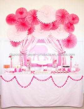 Roze Opknoping Zijdepapier Tissue Papier Fans Fans Diy Achtergrond