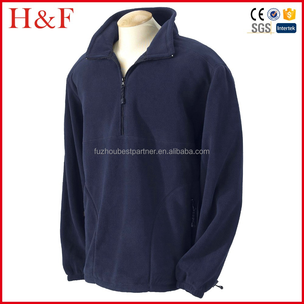 New promotional sweater navy blue pullover fleece hoody half zip elastic cuff outdoor clothing