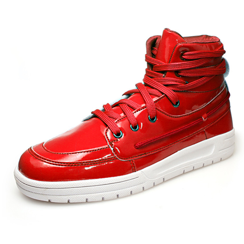 New Fashion 2015 High Top Sneakers For Men PU Leather Red White Black Mens Casual Autumn Winter Shoes Men High Top Sneakers