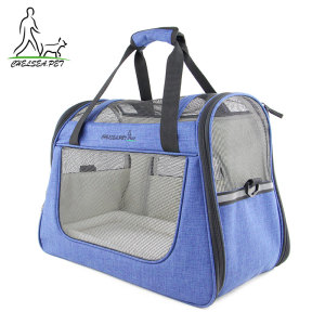 Cute nylon airline approved folding Breathable Pet dog Cat travel Carrier tote bag
