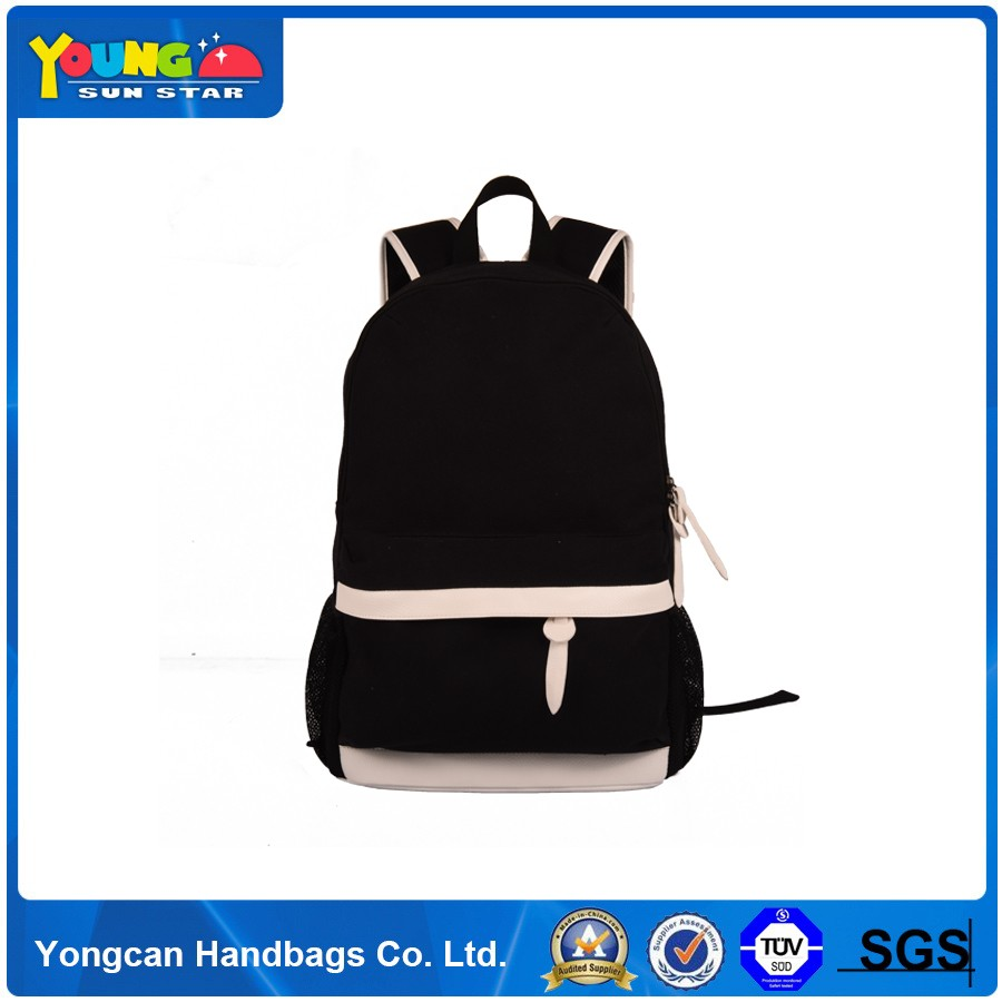 New design simple canvas backpack with PU leather