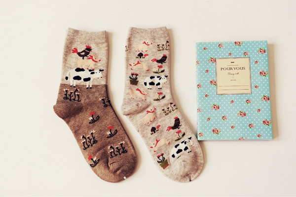 Queena Cartoon animal paradise pure cotton socks