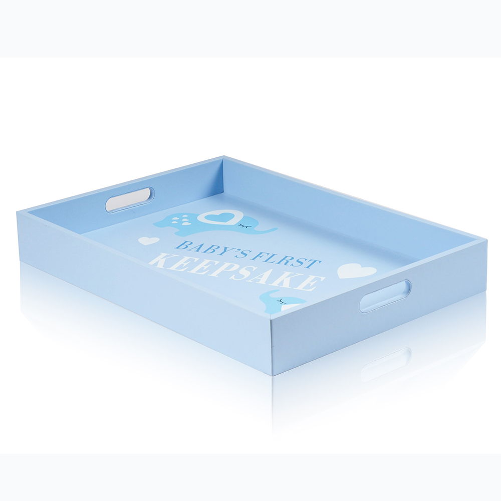 Factory wholesale price chocolate candy <strong>wood</strong> tray for baby light blue color with elephant silkscreen tray