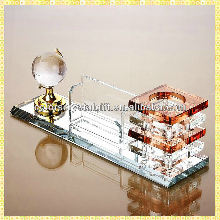 Antique Crystal Office Stationery Gifts Set For Table Top Decoration