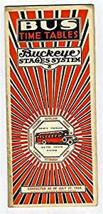 Buckeye Stages System Bus Time Tables July 27 1934 Route Map