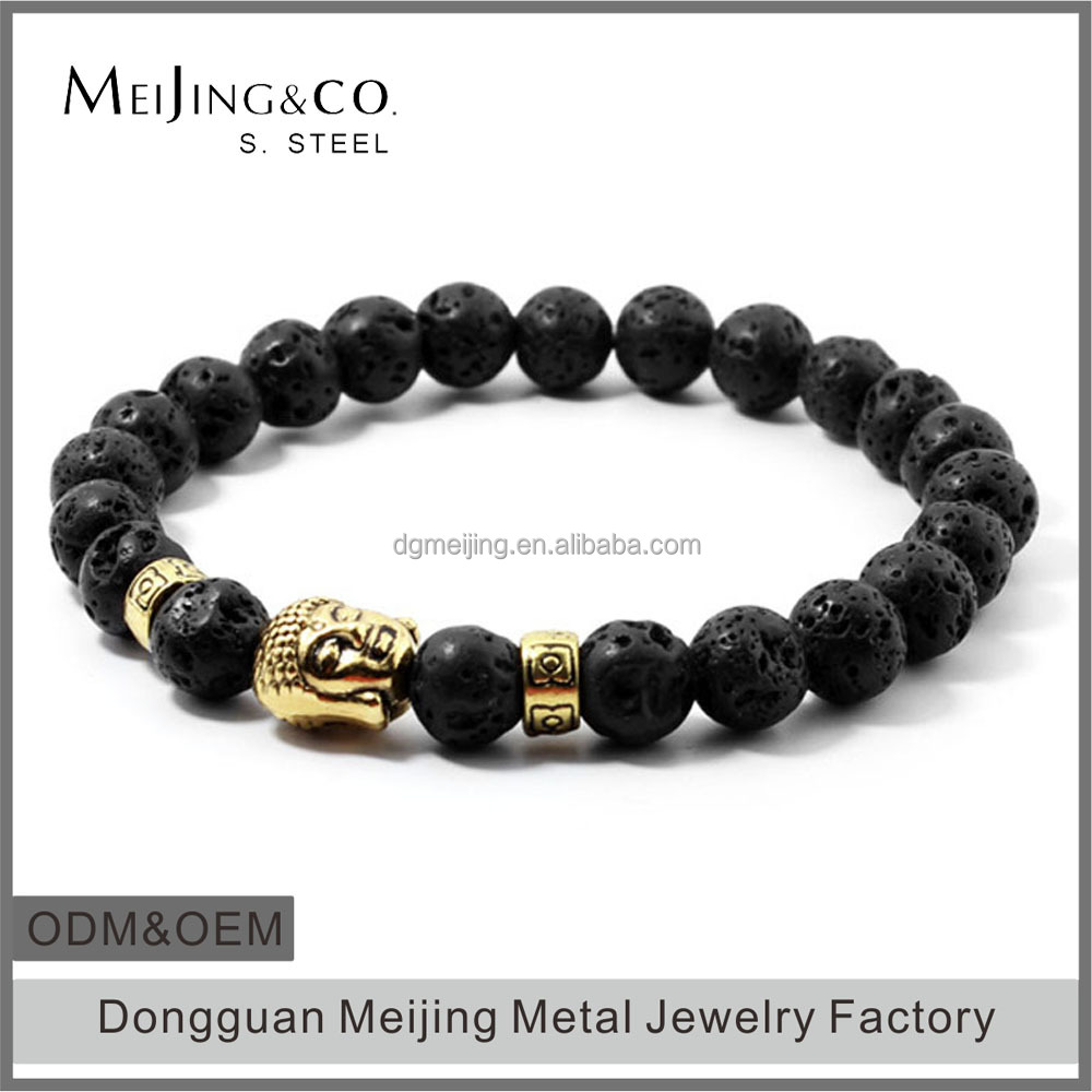 Meijing adjustable lava stone buddha bead bracelet for men