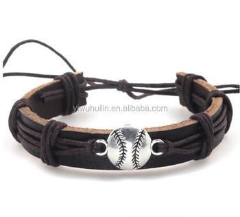Hl004 Yiwu Huilin Jewelry Europe Fashion Sport Baseball Leather Braided Bracelet