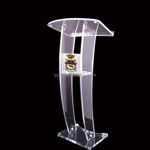 Clear Plexi Glass Lightweight Pulpit Podium, Lucite Reading Lectern