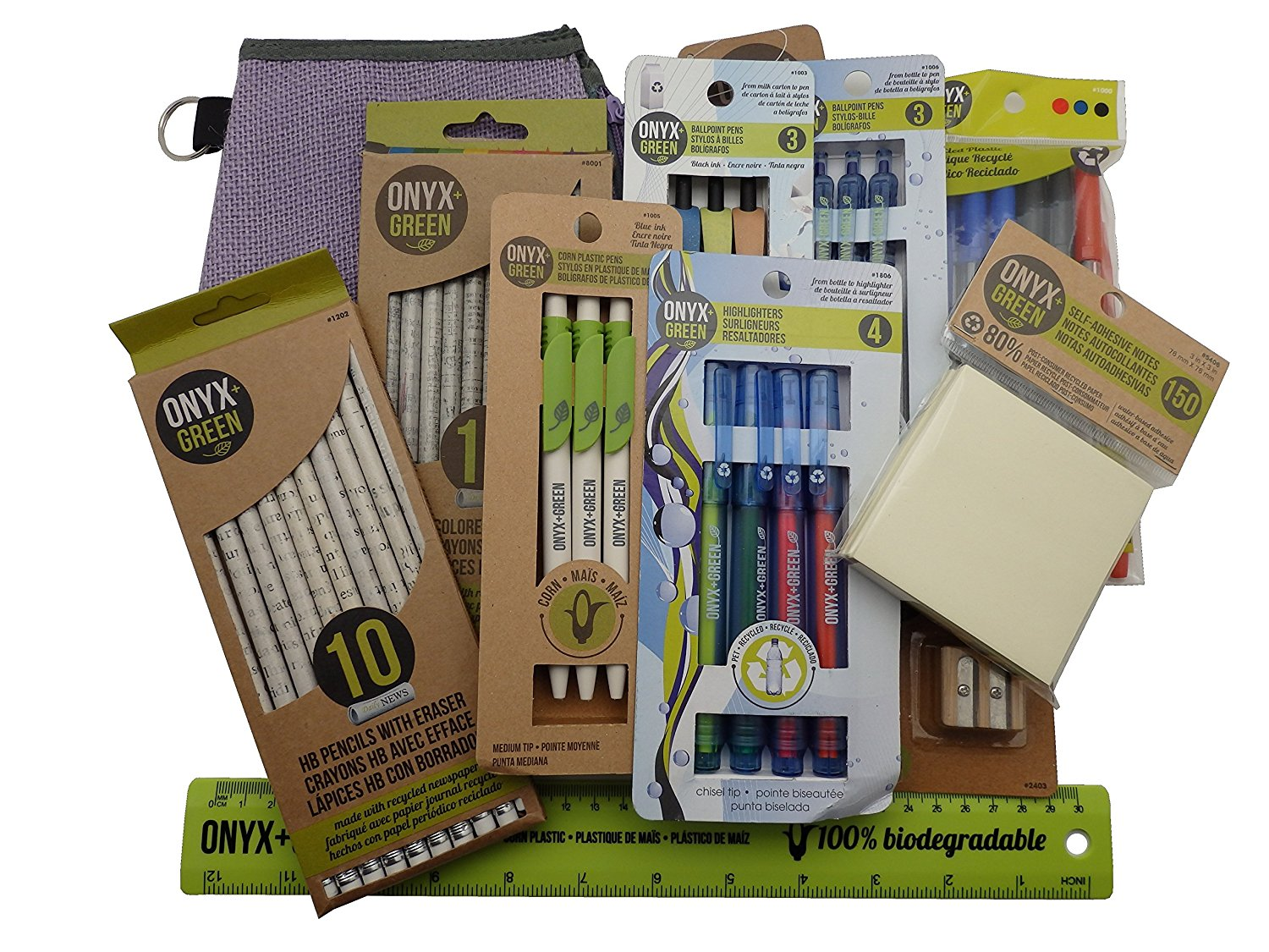 Recycled Sustainable Materials Green Eco Friendly School Office Supplies Kit - Sticky Notes Ruler Pen Pencils Sharpener - with a 100% jute pencil case.