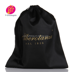 2019 large custom black silk satin hair extension packaging pouch bags