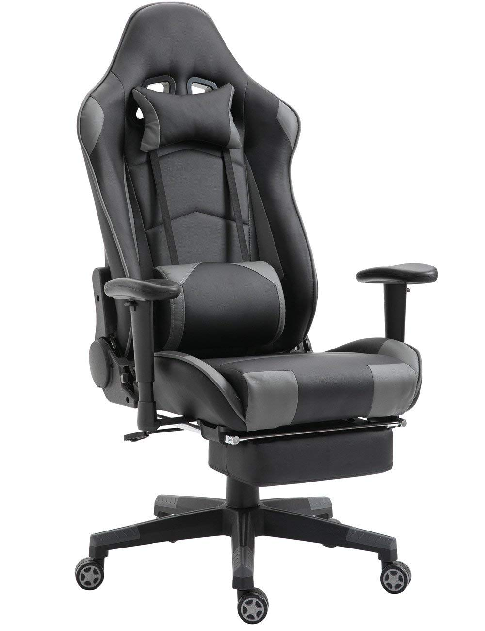 Gaming Chair High Back Ergonomic Racing Chair with Footrest Adjustable Height Swivel Office Chair with Headrest Lumbar Support (Black/Grey,1)