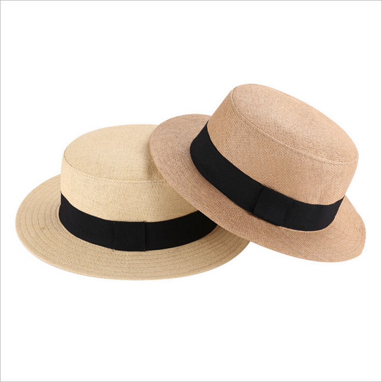 2aa5bebb92 Unisex British Retro Flat Brim Straw Hat Summer Fashion Fedora Panama Hat  Beach Sun Hat Straw Hats for women men free shipping