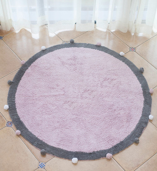 Hot sale high quality round kids rugs baby crawling pad kids interior play mat with pom pom