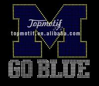 University Of Michigan Go Blue Hotfix Bling Transfer Rhinestone Motifs