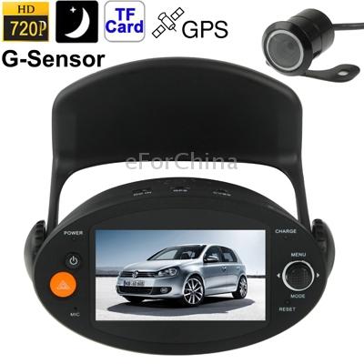 P10 HD 720 P 2.7 дюймов жк-экран камеры автомобиля автомобиль видеорегистратор + отдельная камера поддержка GPS / детектор движения / G - датчик / аварийного записи