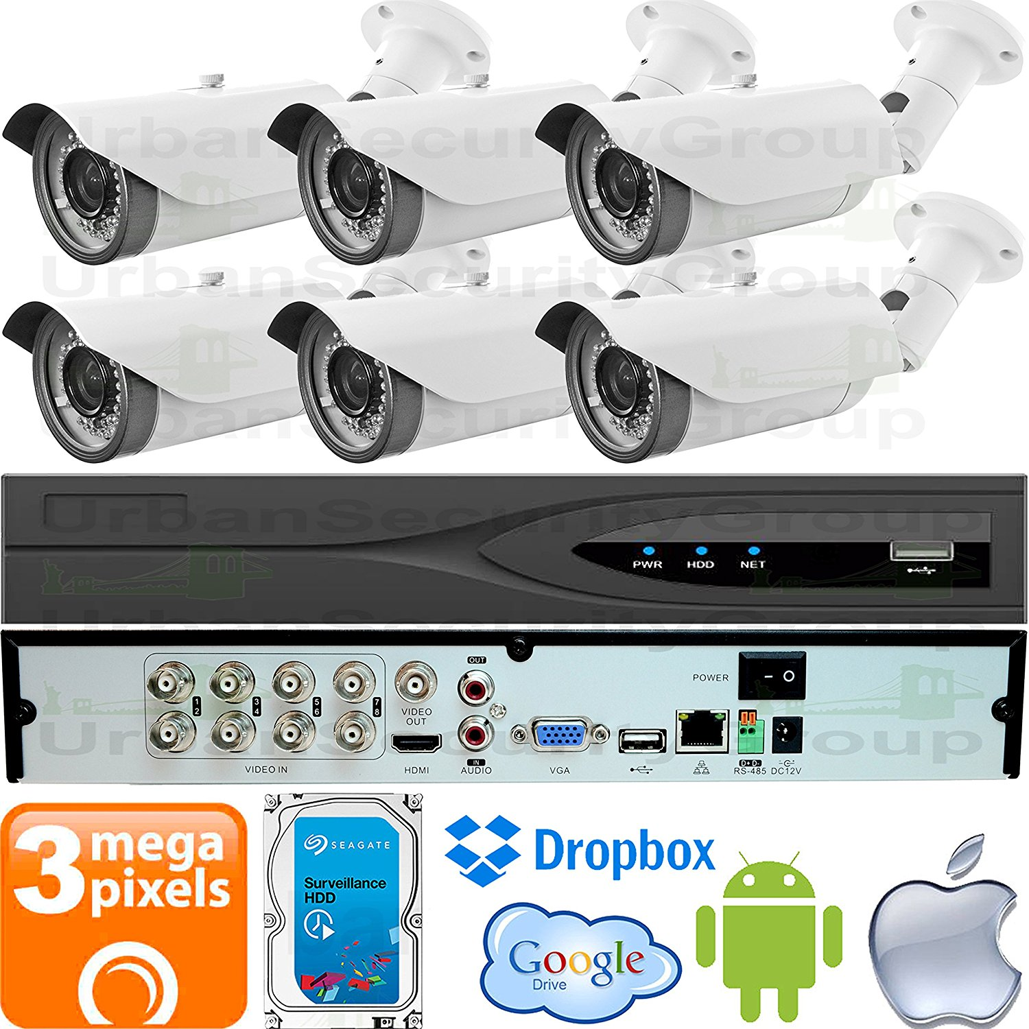 USG Business Grade 3MP 6 Camera Security System CCTV Kit : 6x 3MP 2.8-12mm Vari-Focal Bullet Cameras + 1x 8 Channel 3MP DVR + 1x 4TB HDD : Apple Android Phone App : Coaxial BNC Cable : Plug & Play