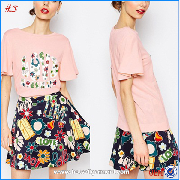 Latest fashion ladies t shirt with printed skirt women blouses and dresses