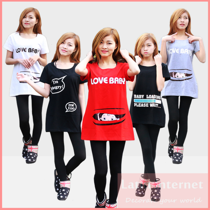 Fashion Pregnant Maternity T Shirts Casual Pregnancy Maternity Clothes With Baby Peeking Out Funny Maternity Shirts