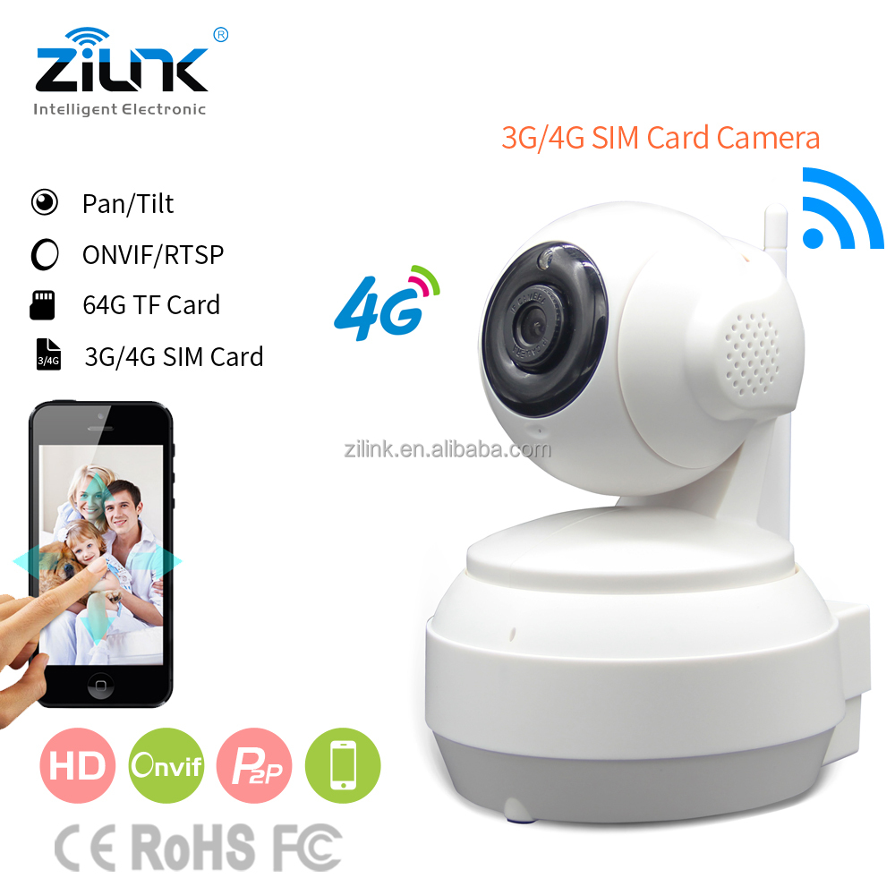 P2P Cloud Indoor megapixel ip camera wireless 3G/4G SIM Card surveillance camera for home