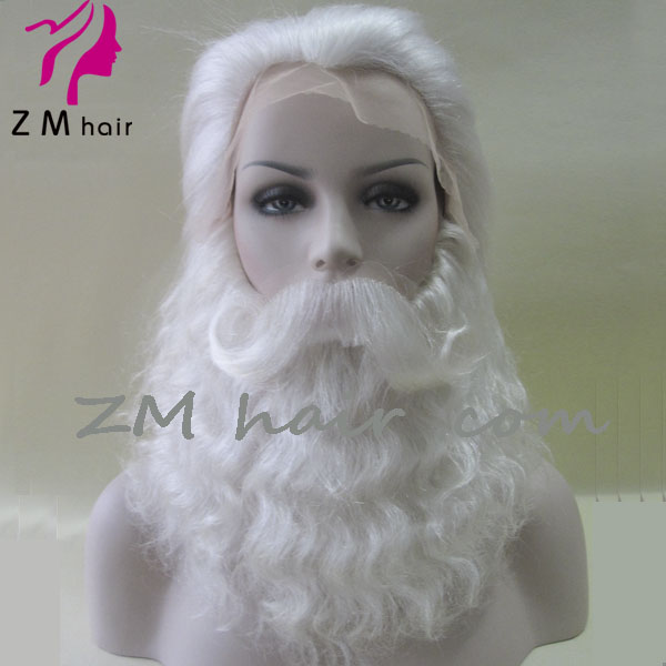 acf0fbc88ad ZM hair white yak beard and wig set for christmas father santa claus wig