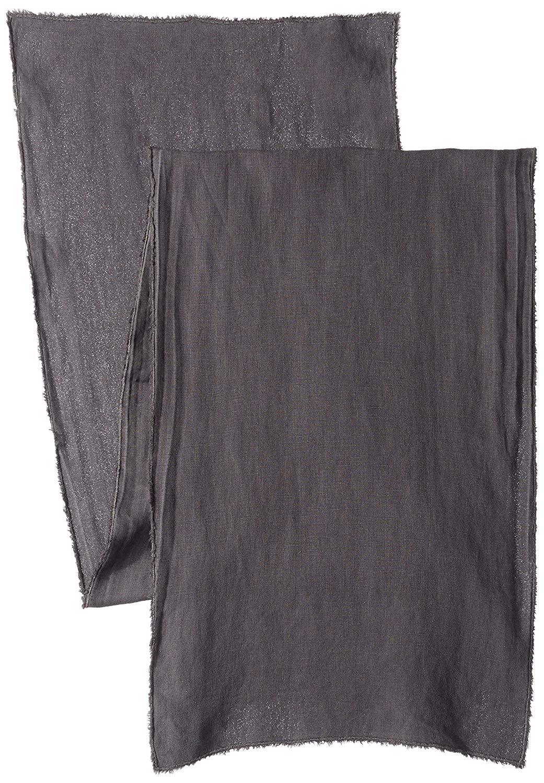 """SARO LIFESTYLE Fringe Design Stone Washed Linen Table Runner, 16"""" x 72"""", Slate"""
