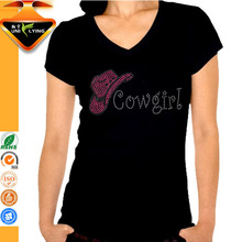 Hot Sales Cowgirl V neck Casual Style T-shirt for Girl
