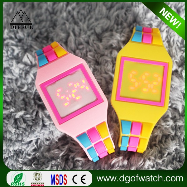 New Square wrist sports watch put your own logo silicone touch screen led digital watch