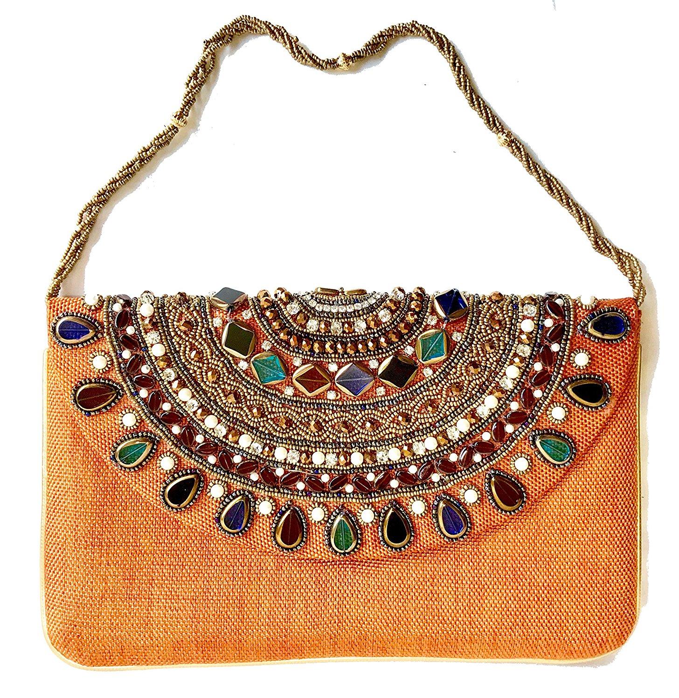 Get Quotations · Amor Women s Beautiful Fashion Clutch Jewel Studded Jute  Bag Purse Lady Handbag b366eb3e24821
