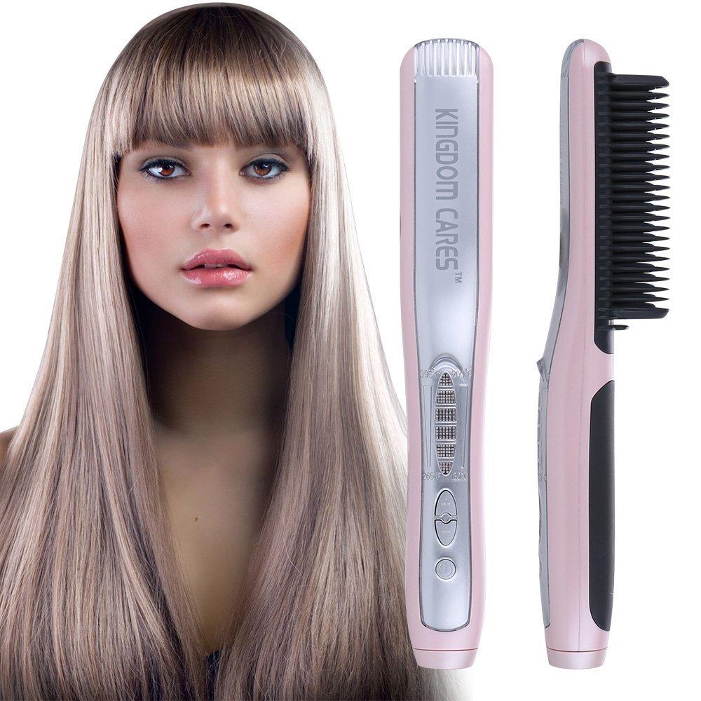 KINGDOMCARES Valentines Day Gifts Straightener Brush Hair Straightening Hair Curling PTC Fast Heating Electrical Ceramic Iron Comb Salon Heating Anti-Scald Anti-Burns Effective Straightening Pink