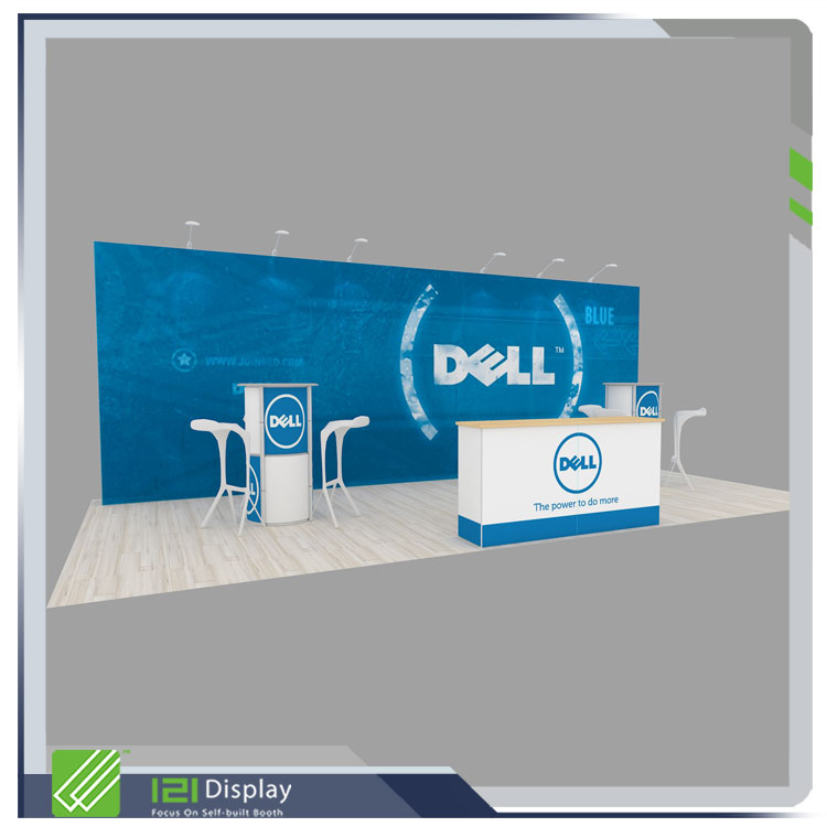 Portable tension fabric display backdrop wall in aluminum