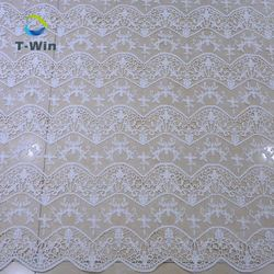 Manufacturer wholesale new cotton guipure lace fabric embroidered mesh lace fabric