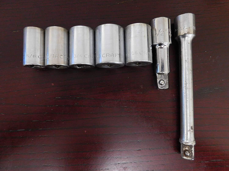 """CRAFTSMAN- 1/2 DR SAE 12pt Socket Set of 7-5/8"""" to 13/16"""" & 2 Extension 1/2"""". V-series. Item#0093. Vintage. Made in USA."""